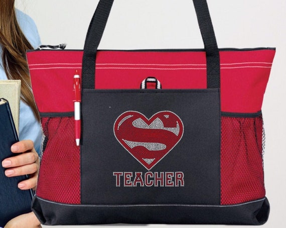 Teacher Tote Bag, Teacher Gifts, End Of Year Gifts, Teacher Book Bag , Teacher Assistant Tote, Bling Rhinestone Tote Bag , Gifts For Teacher
