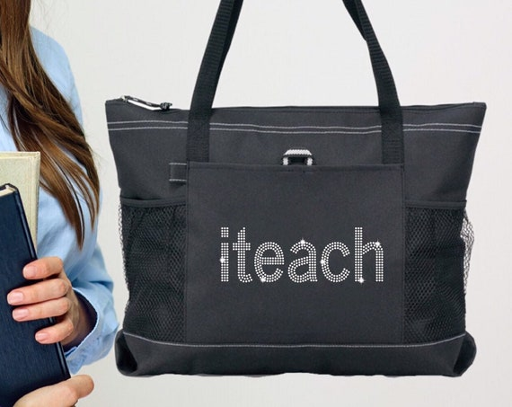 ITEACH , Teacher Tote Bag, Teacher Gifts, End Of Year Gifts, Teacher Book Bag , Teacher Assistant Tote, Bling Rhinestone Tote Bag