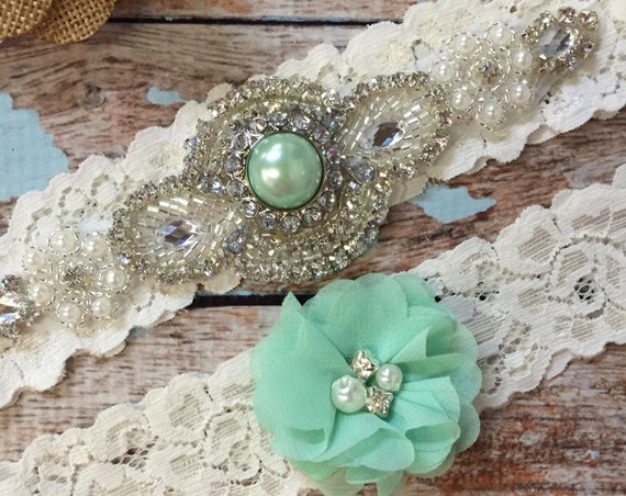 Mint Wedding Garter Set Bridal Garter Ivory Lace Garter Something Blue Rhinestone Garter Vintage Garter Belt Toss Garter Lace Garter