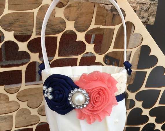 Flower Girl Basket , Navy Coral Flower Girl Basket , Flower Girl Gift , ivory  flower girl basket