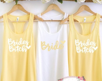 Mature Future Mrs cheers bitches bride to be bachelorette bridesmaid maid of honor matron of honor summer Bella canvas muscle tank fiance