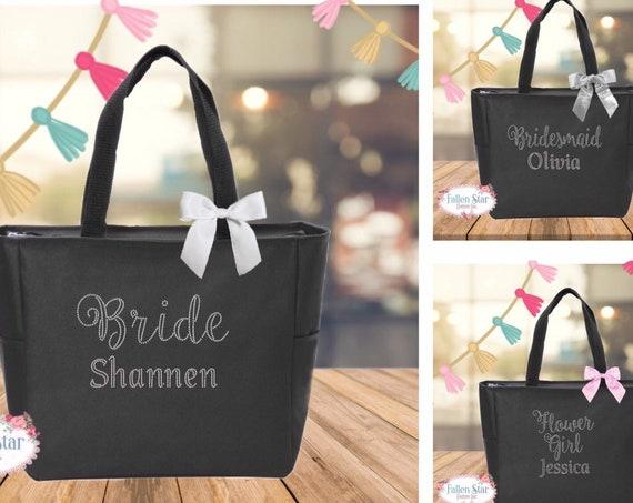 Bridesmaid Tote Bag, Maid of Honor Tote Bag , Flower Girl Tote Bag, Mother of the Bride Tote, Bling Tote Bag,Bride Tote Bag