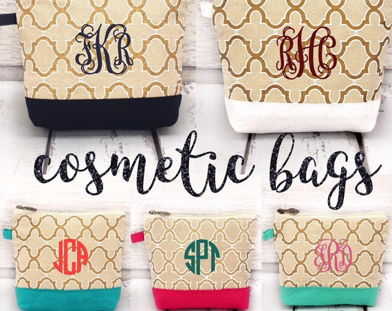 Monogrammed cosmetic bag , bridesmaid make-up bags, monogrammed bag, wedding bag , bridesmaid gifts, lipstick bag