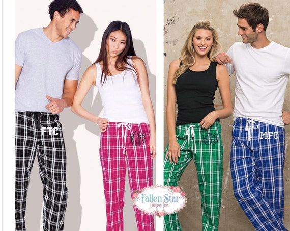 Flannel Lounge Pants , Pajama Pants, Monogrammed Pajamas, Sorority Flannel Pants, Personalized pajamas , Fraternity Lounge Pants