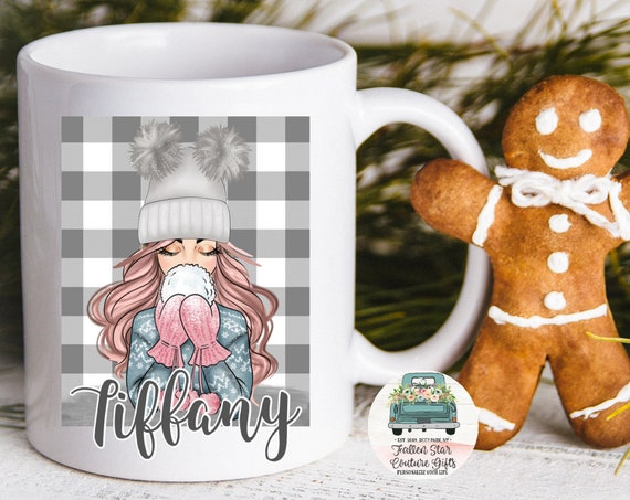 Best Seller Personalized Coffee Mug, Grab Bag Gift, Gifts Under 20, Pom Pom Hat, Hot Cocoa Mug,Teen Gift,SnowBall, Coffee Gift ,College gift