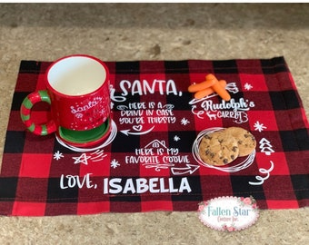 Santa Placemat , Cookies and Milk Placemat , Kids Christmas Placemat , Personalized Santa Placemat