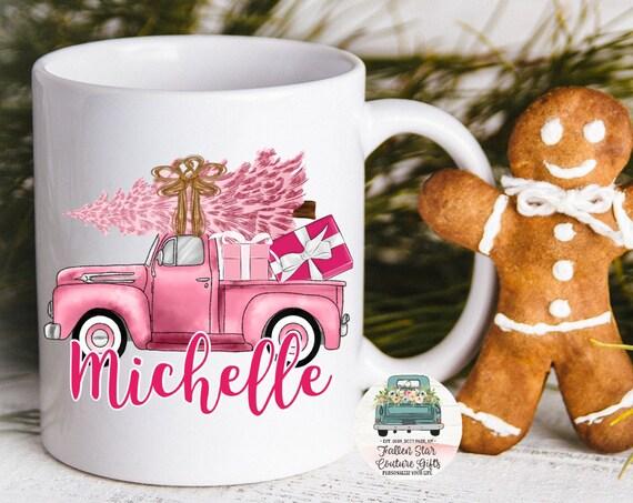Christmas Truck Coffee Mug, Christmas Mug, Pink Christmas Tree, Farmhouse Coffee Mug, Rustic Mug, Personalized Coffee Mug Gifts