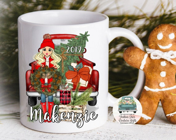 Personalized Coffee Mug, Christmas Coffee Mug, Grab Bag Gift, Gifts Under 20, Christmas Truck Mug , Farmhouse Coffee Mug , Christmas Gifts