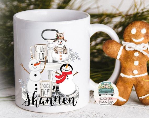 Farmhouse Coffee mug , Personalized Coffee Mug, Snowman Mug, Christmas Coffee Mug , Winter Coffee Mug, Gifts Under 20,, Grab Bag Gift