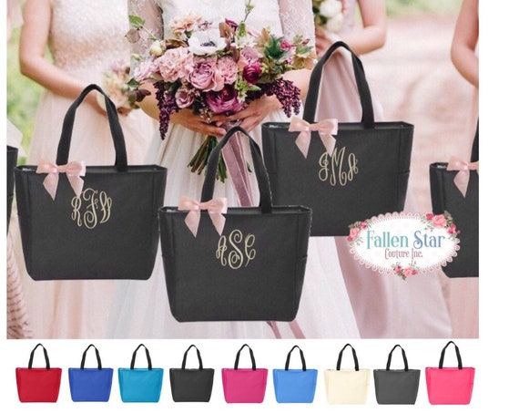 Bridesmaid Tote Bags , Bridesmaid Gifts , Bachelorette Party Gift , Bridal Party Gifts , Maid of Honor Gift, Wedding Welcome Bag