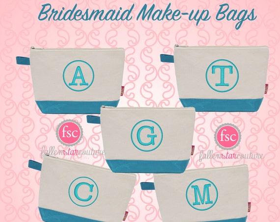 Turquoise bridesmaid bags , bridesmaid make-up bags, monogrammed bag, wedding bag , bridesmaid gifts , personalized bridesmaid gifts