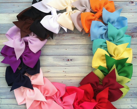 BEST SELLER 1.00 Hair Bows / Four Inch Bows / One Dollar Bows /You Pick How Many / Infant bows, toddler bows, girls bows