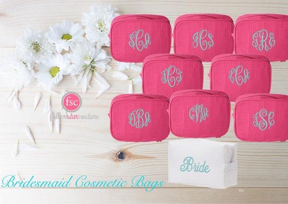 Hot pink makeup bag , bridesmaid make-up bags, monogrammed bag, wedding bag , bridesmaid gifts , personalized bridesmaid gifts