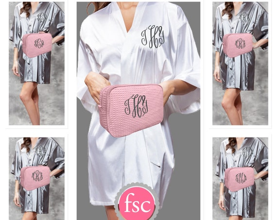 Bridesmaid personalized SATIN Robe and Waffle Makeup Bag gift set/ bridesmaid gifts / bridal party gifts / getting ready robes/bridesmaid
