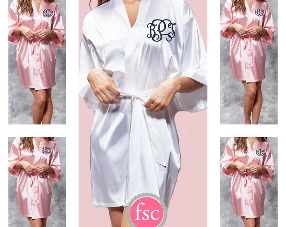 Monogrammed Bridesmaid Robes , SATIN wedding robes , bridesmaid gifts , personalized wedding robes , monogrammed satin robe