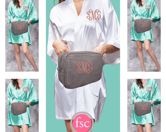Monogrammed Bridesmaid SATIN Robe and Waffle Makeup Bag gift set/ bridesmaid gifts / bridal party gifts / getting ready robes/bridesmaid