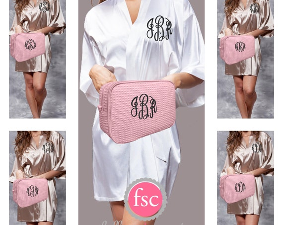 Bridal Party SATIN Robe and Waffle Makeup Bag gift set/ bridesmaid gifts / bridal party gifts / getting ready robes/bridesmaid bag