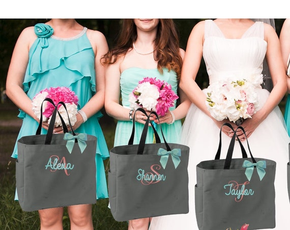 17  bridesmaid tote bags , bridesmaid gifts , tote bag , beach bag , bachelorette party gift ,wedding bag , maid of honor