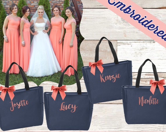 Bridesmaid Tote Bags, Maid of Honor Tote, Personalized Bridesmaid Bags, Bridal Party Bridesmaid Gifts , Gifts for Her , Gifts under 15