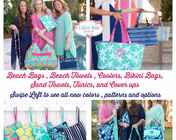 Monogrammed Beach Bag , Personalized Beach Bag , Beach Tote , Bikini Bag , Beach Towels , Beach Coolers , Cover Ups , Tunics