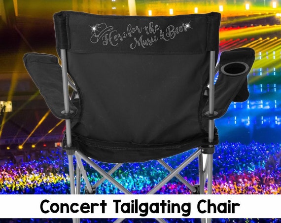 Country music , Country concert chair, tailgating chair, concert tailgating chair, here for the music and beer , BLING