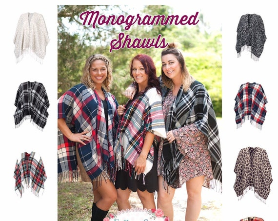 CLEARANCE Monogrammed Shawl , Personalized Scarf , Gifts For Her, personalized Blanket Scarf , College Sorority Gifts , Plaid Scarf