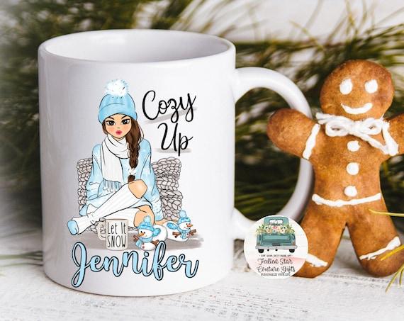 Comfy Girl Personalized Coffee Mug, Christmas Coffee Mug, Grab Bag Gift, Gifts Under 20, Cozy Up Mug, Cheap Gifts, Gifts For Her, Mom Mug