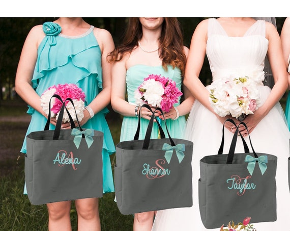 15 bridesmaid tote bags , bridesmaid gifts , tote bag , beach bag , bachelorette party gift ,wedding bag