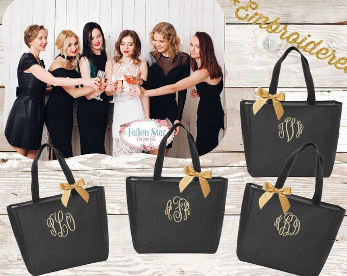 BEST SELLER / Bridesmaid Tote Bags, Maid of Honor Tote, Personalized Bridesmaid Bags, Bridal Party Bridesmaid Gifts EMBROIDERED Tote Bag