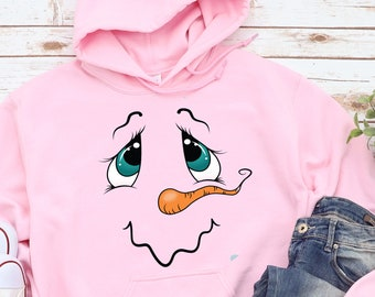 Snowman  Shirt,  Girls Christmas Hoodie , Christmas Shirt For Kids , Snowman Shirt For Girls, Girl's Snowman Christmas Shirt Snowman Face