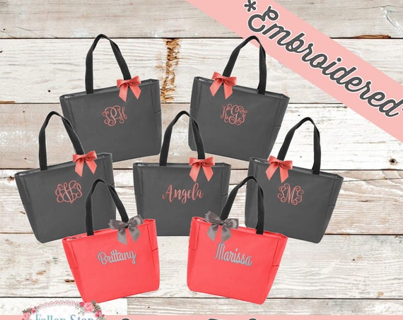 Personalized Tote Bag, Monogram Tote Bag, Bridesmaid Gifts, Bridesmaid tote Bag , Embroidered Tote Bag , Bachelorette Party Gifts