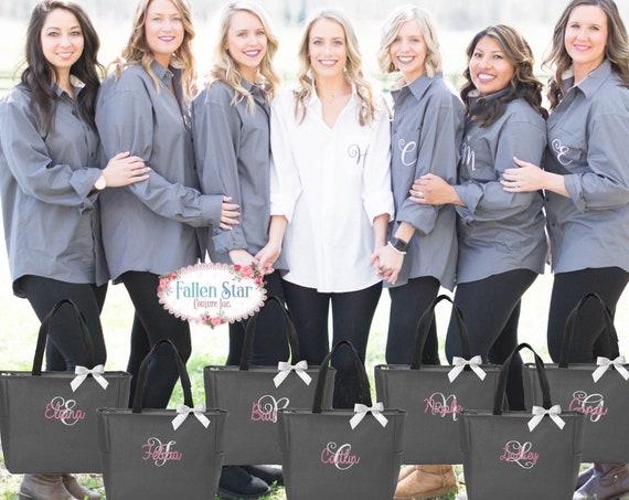 5 bridesmaid oxford shirts and 5 tote bag gift set/ bridesmaid gifts / bridal party gifts / getting ready shirts/ bridesmaid tote bag