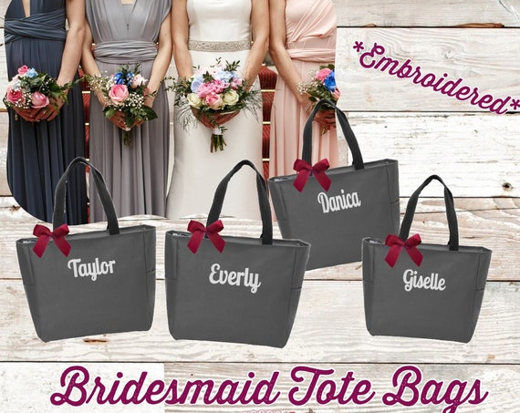 Monogrammed Tote Bags, Bridal Party Gifts, Bridesmaid Tote Bags , Gifts for Bridesmaids , Embroidered Tote Bags, Bachelorette Party Gifts
