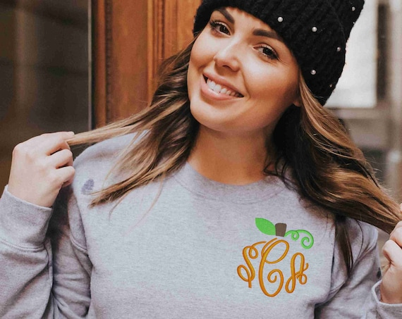 Pumpkin Sweatshirt, Fall Pullover, Embroidered Shirt, Crewneck Sweatshirt, Monogrammed Pullover, Monogrammed Sweatshirt, Embroidered