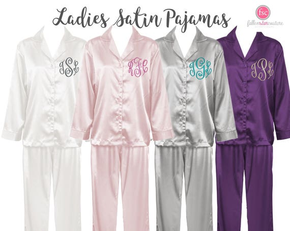 Bridesmaid Pajamas , monogrammed pajama set , monogrammed  pjs, monogrammed tank , bridesmaid tanks , satin pajama set , wife gift
