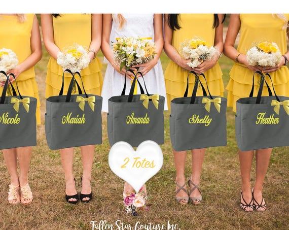 2 bridesmaid tote bags  , bridesmaid gifts , tote bag , beach bag , bachelorette party gift ,wedding bag , maid of honor , flowergirl