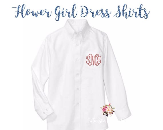 Flower girl oxford shirts, monogrammed oxford shirts, getting ready shirts, bridal party gifts