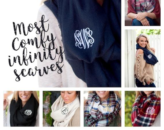 Monogrammed infinity scarf , black scarf , personalized scarf , infinity scarf , monogram scarf