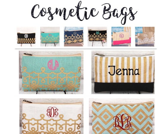 Bridesmaid Gifts, Personalized Cosmetic case . monogrammed makeup case, monogrammed cosmetic case, bridesmaid bag