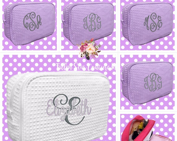 10 bridesmaid makeup bags , bridesmaid waffle bag , monogrammed bag, wedding bag , bridesmaid gifts , personalized bridesmaid gifts