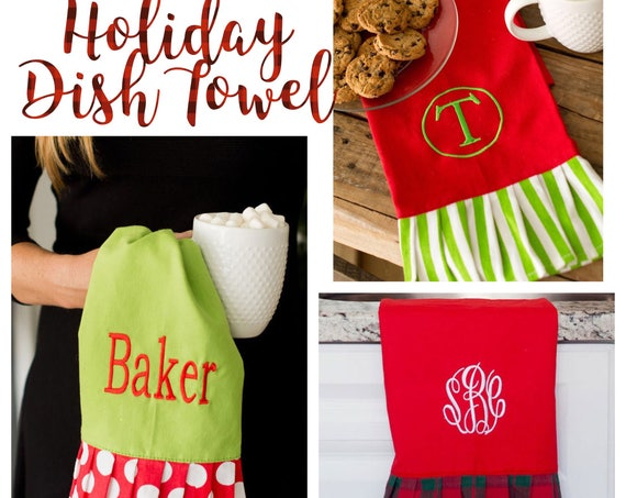 Christmas hand towel , personalized Christmas towel , monogrammed dish towel, kitchen towel , Christmas towel
