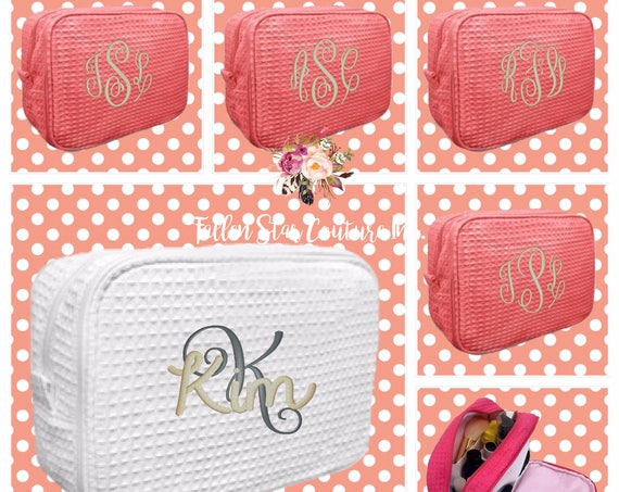 Set of 9 bridesmaid makeup bags , bridesmaid accesory bags, waffle cosmetic bag , bridesmaid gifts , personalized bridesmaid gifts