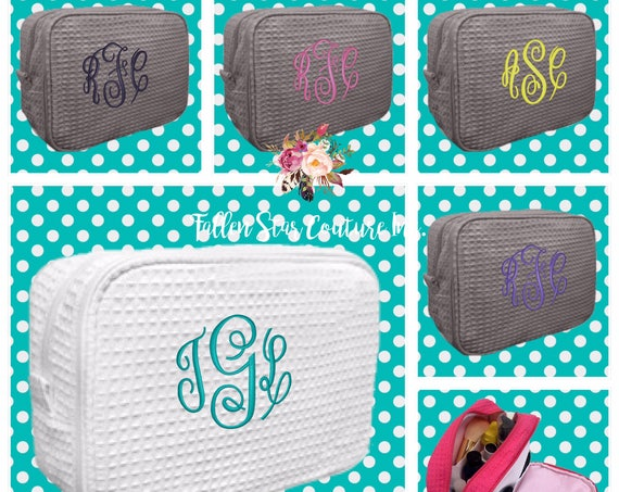 8 bridesmaid makeup bags , bridesmaid waffle make up bag , monogrammed bag, wedding bag , bridesmaid gifts , personalized bridesmaid gifts