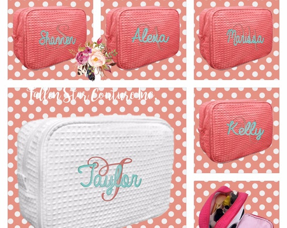 5 bridesmaid makeup bags , bridesmaid waffle make up  bags, monogrammed bag, wedding bag , bridesmaid gifts , personalized bridesmaid gifts