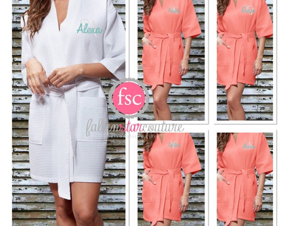 Monogrammed Waffle Bridesmaid robes , WAFFLE wedding robes , bridesmaid gifts , personalized wedding robes , monogrammed robe