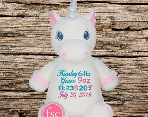Unicorn Personalized Baby Gift , Unicorn stuffed animal , birth announcement gift , Unicorn nursery toy, new baby gift, newborn gift