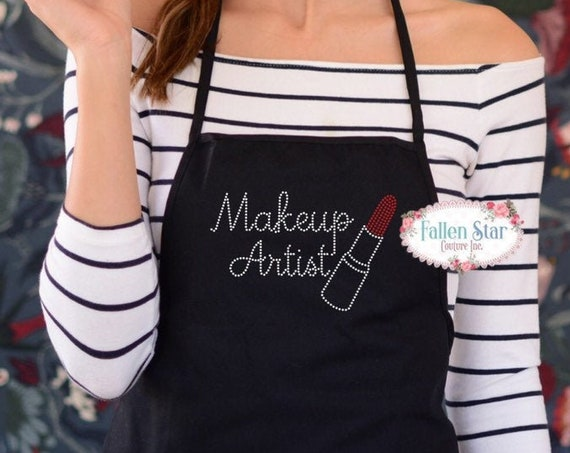 Makeup Artist Apron , Hairdresser Stylist Gift , Bling Apron , Unique Gift for Her