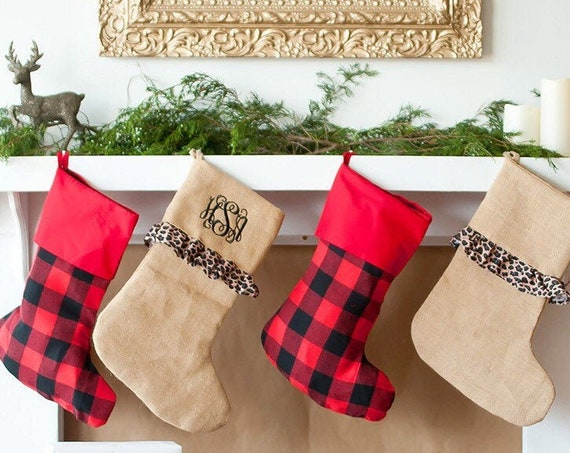 Bufffalo Plaid Christmas Stocking , Burlap Christmas Stocking, Personalized Stocking , Monogrammed Christmas Stocking