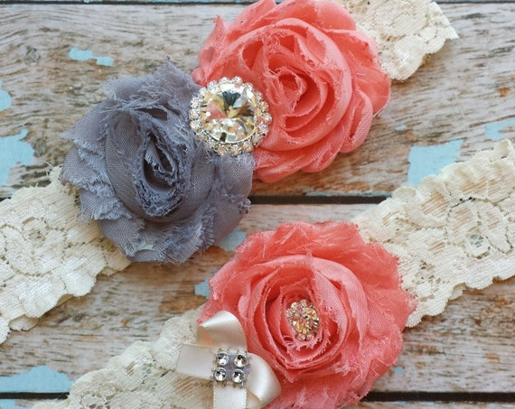 Coral & Grey Wedding Garter Set Bridal Garter Ivory Lace Garter Something Blue Rhinestone Garter Vintage Garter Belt Toss Garter Lace Garter