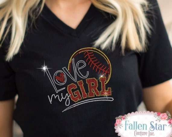 Softball Mom Shirt, Softball Mom Tank , Softball Tank Top , Softball Sweatshirt, Thats My Girl, Bling RHINESTONE